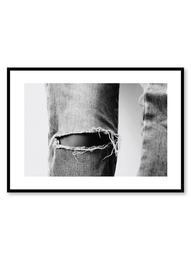 Minimalist design photography poster of black and white Ripped jeans by Love Warriors Creative Studio - Buy at Opposite Wall