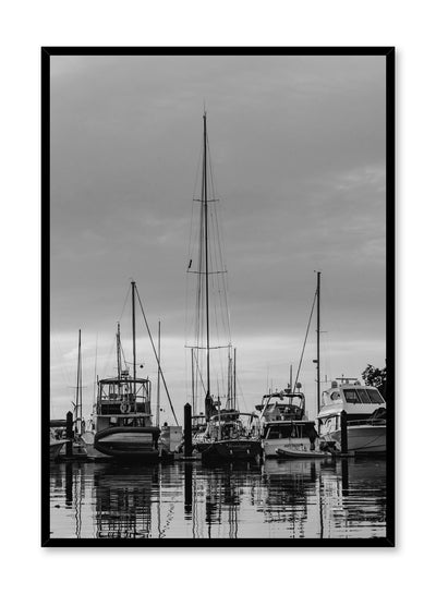Minimalist design poster by Opposite Wall with nature photography of Vancouver Island boats in a marina