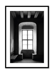 Minimalist design photography poster of black and white Alcove by Love Warriors Creative Studio - Buy at Opposite Wall