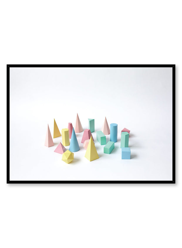 Minimalist design poster by Opposite Wall with photography of toy shapes in 3D