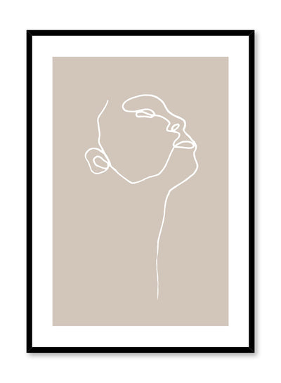 Modern minimalist poster by Opposite Wall with abstract illustration of Profile on orange tan background