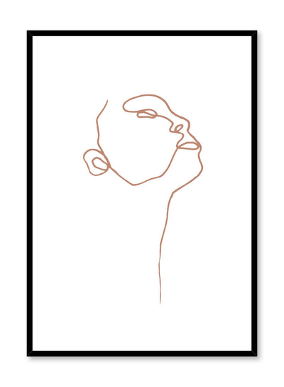 Modern minimalist poster by Opposite Wall with abstract illustration of Profile with brown orange line art