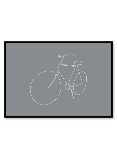Modern minimalist poster by Opposite Wall with abstract illustration of Fresh Start with gray blue background
