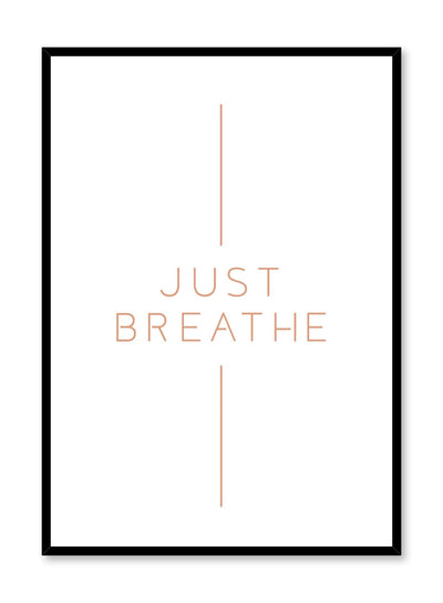 Modern minimalist art print by Opposite Wall with graphic Breathe design in beige tan