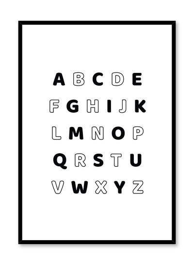 Scandinavian poster with graphic typography design of Alphabet in Black & White by Opposite Wall