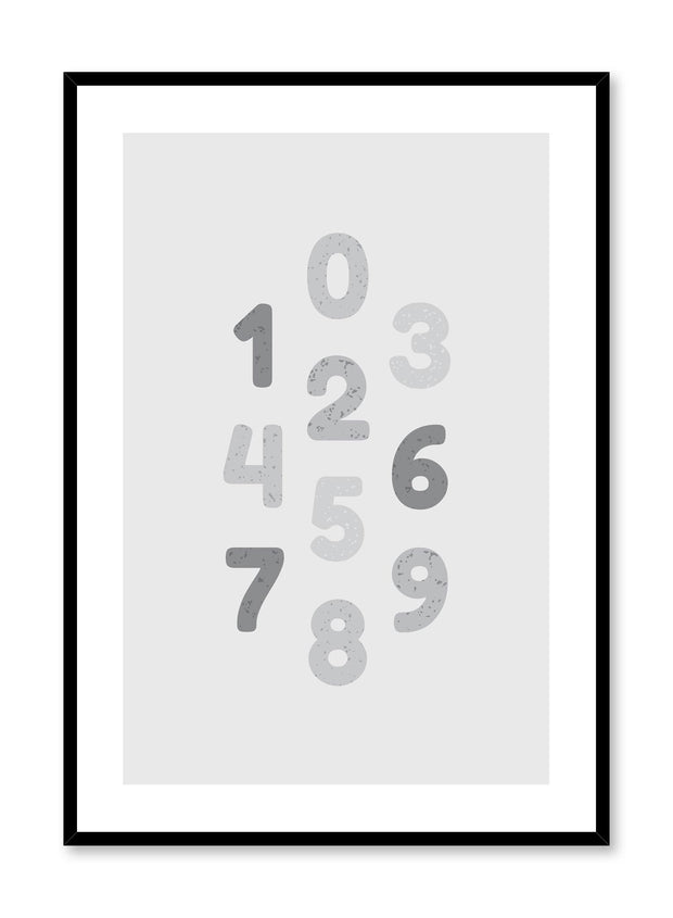 Scandinavian poster with graphic typography design of numbers in Black & White by Opposite Wall