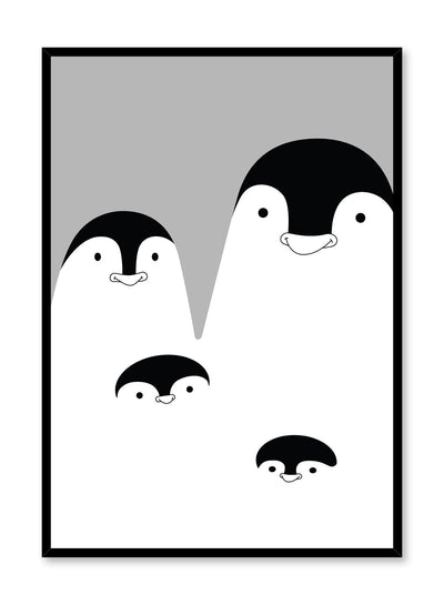 Modern minimalist poster by Opposite Wall with kids illustration of family of penguins in black & white