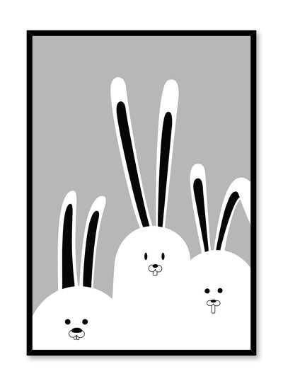 Modern minimalist poster by Opposite Wall with kids illustration of bunnies in black and white