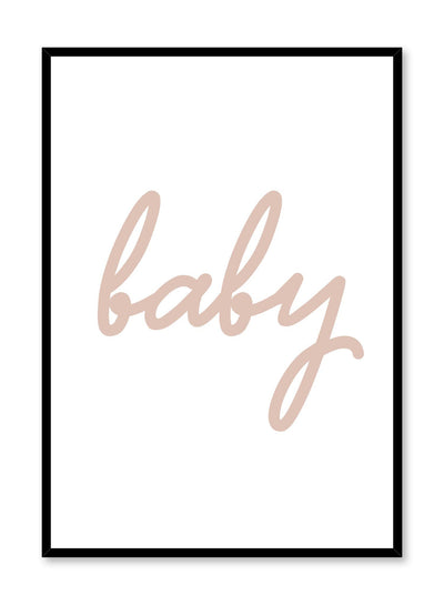 Scandinavian poster with beige graphic typography design of baby by Opposite Wall