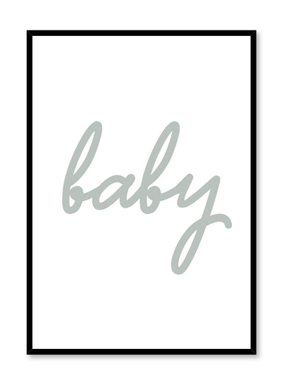 Scandinavian poster with green graphic typography design of baby by Opposite Wall