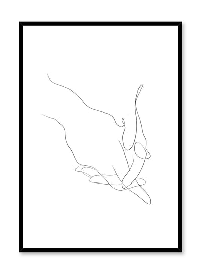 Modern minimalist poster by Opposite Wall with abstract illustration of holding hands line art