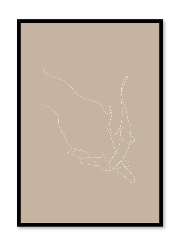 Modern minimalist poster by Opposite Wall with abstract illustration of holding hands line art and beige background