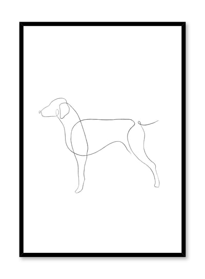 Modern minimalist poster by Opposite Wall with abstract illustration of dog line art