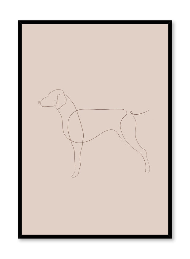 Modern minimalist poster by Opposite Wall with abstract illustration of dog line art with beige background