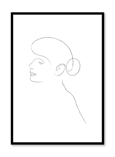 Modern minimalist poster by Opposite Wall with abstract illustration of ballerina bunhead line art