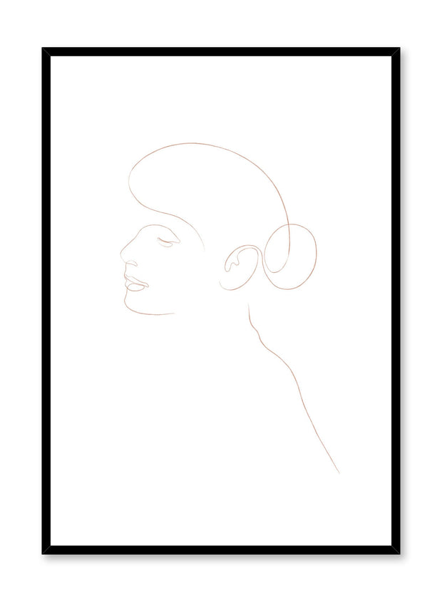 Modern minimalist poster by Opposite Wall with abstract illustration of ballerina bunhead line art in beige