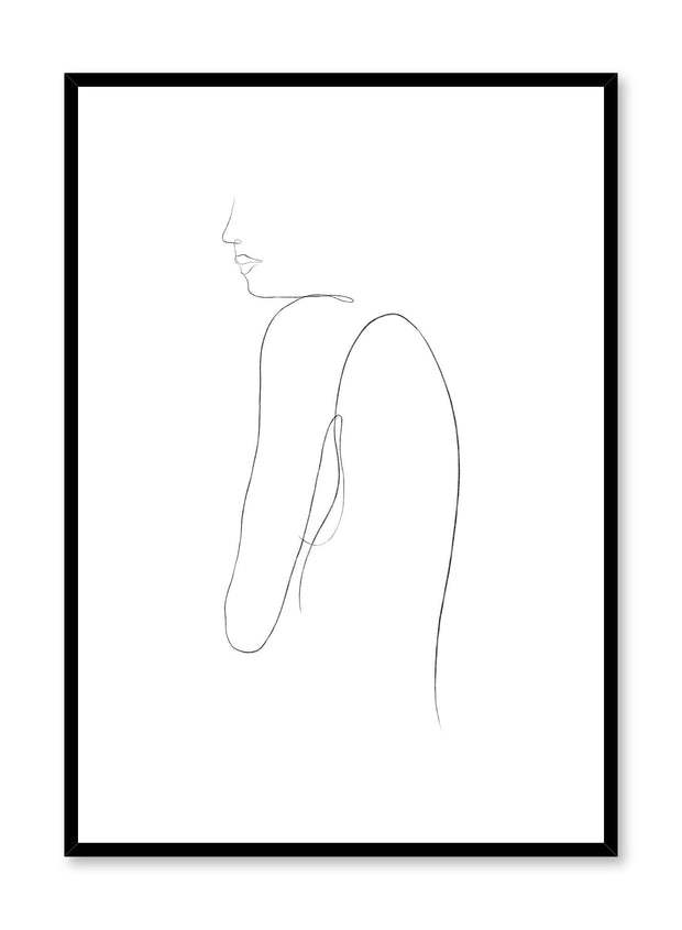Modern minimalist poster by Opposite Wall with abstract illustration of solemn woman line art