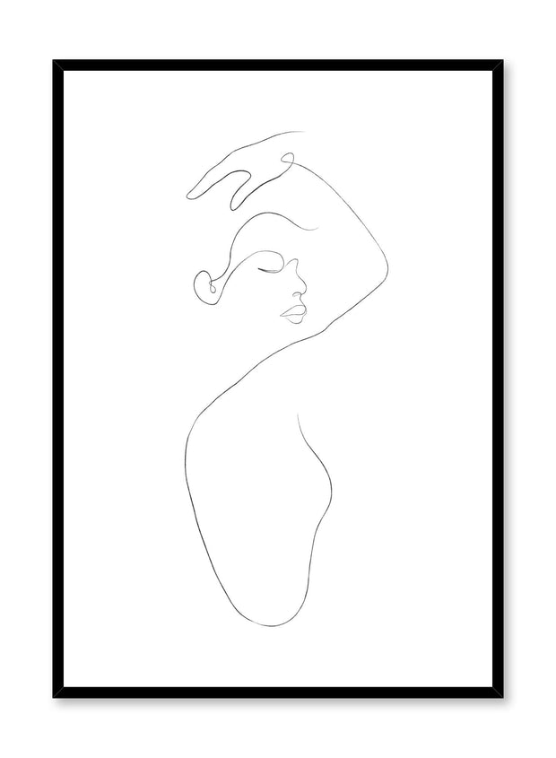 Modern minimalist poster by Opposite Wall with abstract illustration of woman line art In The Feels