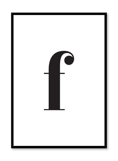 Scandinavian poster with black and white graphic typography design of lowercase letter F by Opposite Wall