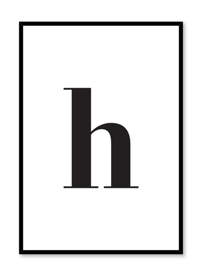 Scandinavian poster with black and white graphic typography design of lowercase letter H by Opposite Wall