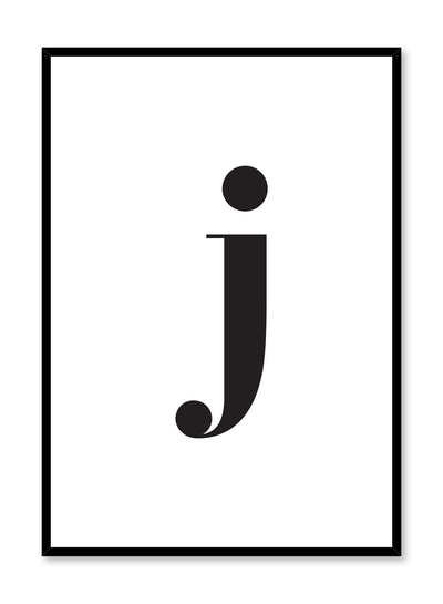 Scandinavian poster with black and white graphic typography design of lowercase letter J by Opposite Wall