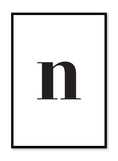 Scandinavian poster with black and white graphic typography design of lowercase letter N by Opposite Wall