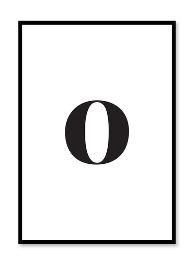 Minimalist black and white typography poster by Opposite Wall with lowercase letter O