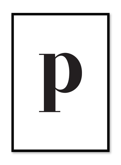 Scandinavian poster with black and white graphic typography design of lowercase letter P by Opposite Wall