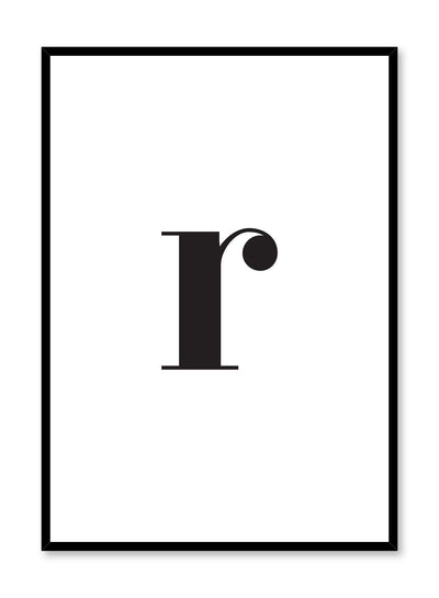 Scandinavian poster with black and white graphic typography design of lowercase letter R by Opposite Wall