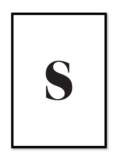 Scandinavian poster with black and white graphic typography design of lowercase letter S by Opposite Wall
