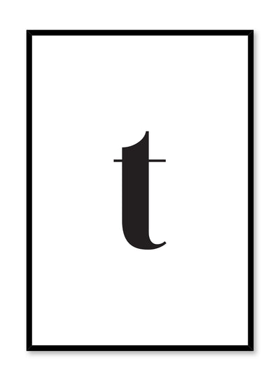 Scandinavian poster with black and white graphic typography design of lowercase letter T by Opposite Wall