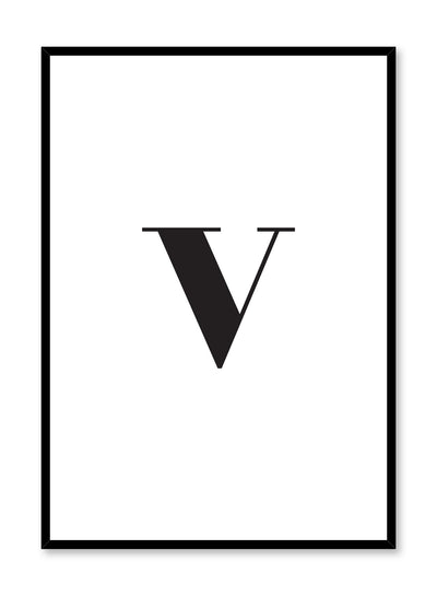 Scandinavian poster with black and white graphic typography design of lowercase letter V by Opposite Wall