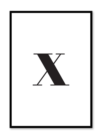 Scandinavian poster with black and white graphic typography design of lowercase letter X by Opposite Wall