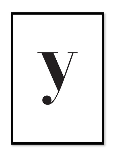 Scandinavian poster with black and white graphic typography design of lowercase letter Y by Opposite Wall
