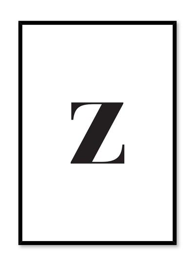 Scandinavian poster with black and white graphic typography design of lowercase letter Z by Opposite Wall