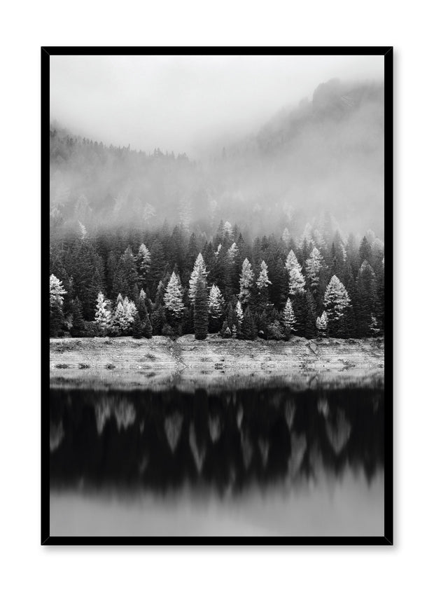 Scandinavian art print by Opposite Wall with trendy landscape art photo - Stunning reflections in black and white