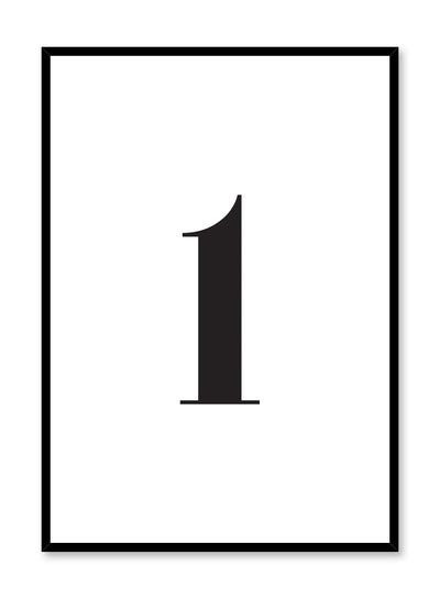 Scandinavian poster with black and white graphic typography design of number one by Opposite Wall
