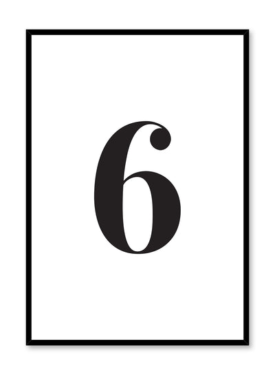 Scandinavian poster with black and white graphic typography design of number six by Opposite Wall