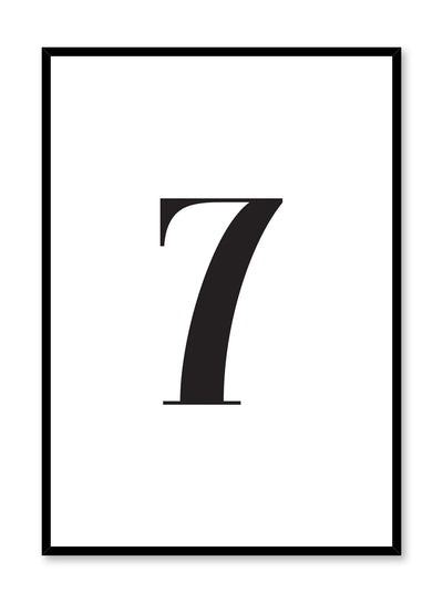 Scandinavian poster with black and white graphic typography design of number seven by Opposite Wall