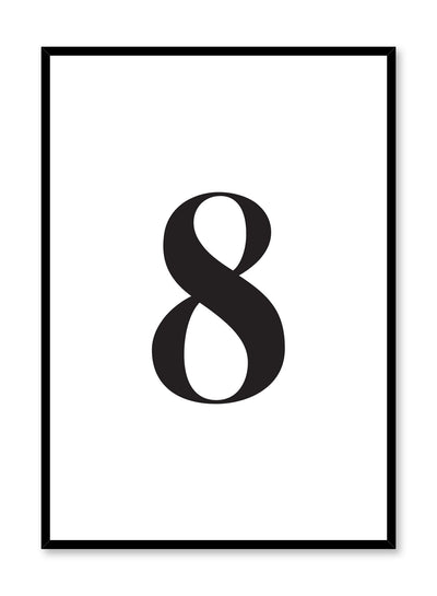 Scandinavian poster with black and white graphic typography design of number eight by Opposite Wall