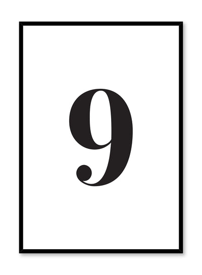 Scandinavian poster with black and white graphic typography design of number nine by Opposite Wall