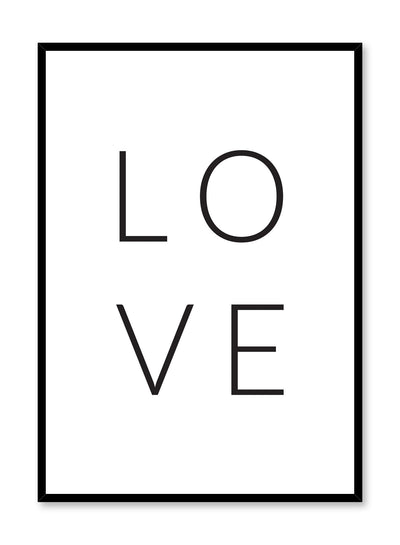 Scandinavian poster with black and white graphic typography design of Four Words, One Letter Love by Opposite Wall