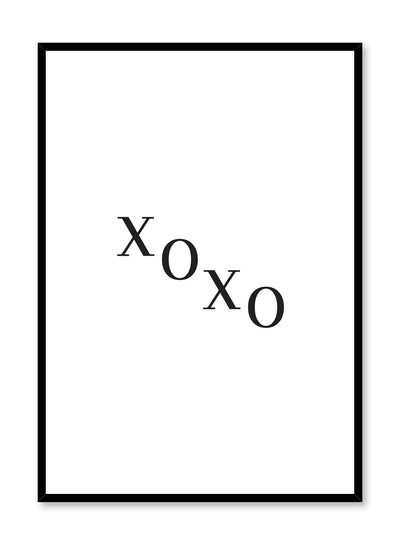 Scandinavian poster with black and white graphic typography design of XOXO text by Opposite Wall