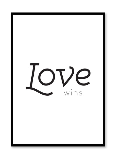 Scandinavian poster with black and white graphic typography design of Love Wins text by Opposite Wall