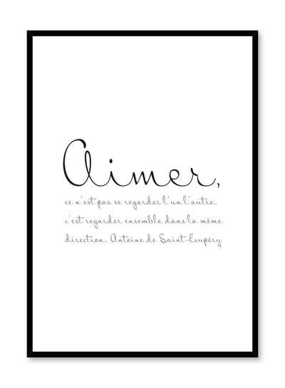 Scandinavian poster with black and white graphic typography design of Aimer quote by Opposite Wall