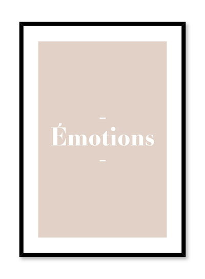 Scandinavian poster with beige colour graphic typography design of Emotions text by Opposite Wall