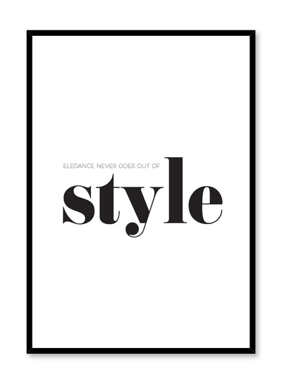 Scandinavian poster with black and white graphic typography design of Elegance text by Opposite Wall