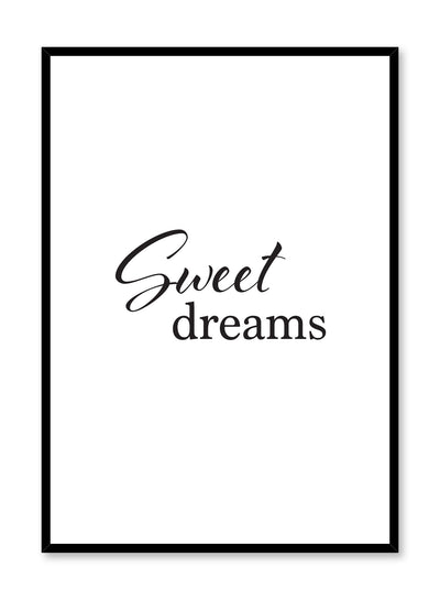 Scandinavian poster with black and white graphic typography design of Sweet Dreams by Opposite Wall