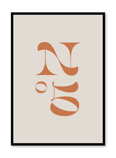 Scandinavian poster with beige colour graphic typography design of modern retro Chanel number five by Opposite Wall