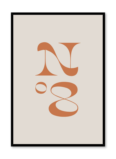 Scandinavian poster with beige orange colour graphic typography design of retro number eight by Opposite Wall